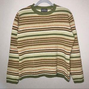 Woolrich 100% Lambswool stripe knit sweater